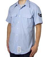US AIR FORCE USAF SHIRT MENS SHORT SLEEVE UNIFORM DRESS BLUE ALL SIZES