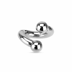 Twister Rings With Beads Surgical Steel Internally Threaded