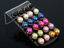12 Pairs CuteLadies Candy Ball Pearl Stud Resin Earring~Wholesale Lot Multicolor