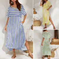 ZANZEA UK Womens Summer Striped Short Sleeve Casual Loose Split Beach Long Dress