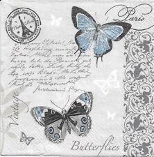 Lot de 2 Serviettes en papier Paris Papillon Decoupage Collage Decopatch