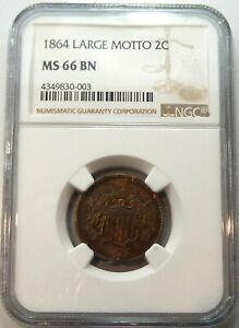 1864 Large Motto Two Cent Piece - NGC Certified MS 66 BN !!