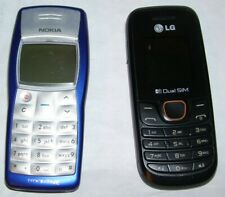 2 untested cell phones for parts: Lg A275 dual Sim & blue Nokia 1100 tracfone