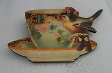 Vintage Style Bird & Teacup Brooch or Scarf Pin Handmade Multi-Color Wood NEW