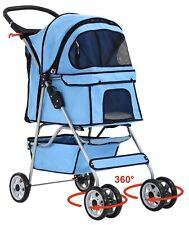 Pet Stroller Cat Dog 4 Wheeler Stroller Travel Folding Carrier *Baby Blue