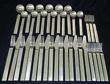36x Mid Century Style Pure Pat Stainless Flatware Set by Gourmet Settings (Gem)