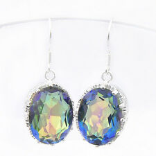 Precious Handmade Vintage Oval Rainbow Mystic Topaz Gems Silver Dangle Earrings