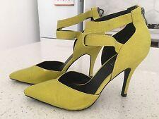 Sportsgirl Pointy Toe Ankle Strap Chartreuse Heels