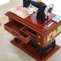 Vintage Music Box Mini Sewing Machine Style Birthday Gift Table Desk Decor RO