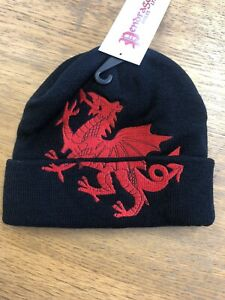 Wales / Cymru  black wooly BEANIE / SKI HAT with WELSH DRAGON design
