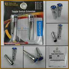 "Toggle switch extension (2) 2 1/4"" Blue jewel chrome aluminum Kenworth # 92861"
