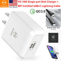 Mcdodo MFi USB-C Type-C to Lightning PD Quick Charging Cable Wall Charger Power