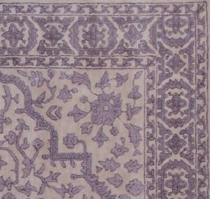 Floral Purple Oriental Oushak 8x10 Floral Hand-Tufted 100% Wool Area Rug Carpet.