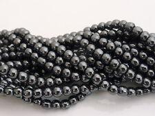 """4mm Non Magnetico Nero Ematite Perline Rotonde 16 """"Trefolo (circa.100 Perline)"""