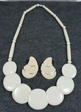 Jewelry Lot Necklace Earrings Ivory/Cream Plastic Large Bead Enamel Classic#3295