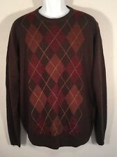 DOCKERS LARGE CREWNECK Argyle Brown Rust Maroon Sweater Diamond Mens