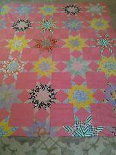 Vintage Handmade Patchwork Quilt Top Folk Art 85x70 Stunning Great Colors WOW