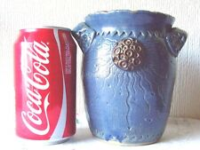 Studio Art Pottery small Vase in blue with a sun motif, stunning
