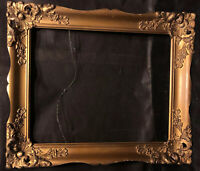 Antique Vintage Victorian  Gold Gilt Frame Carved Floral Gesso Art Frame Oil