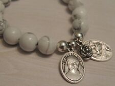 Mary Mackillop Medal-St Christopher Charm Bracelet-12mm White Howlite