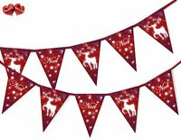 Merry Christmas Tree Snowflake Red Bunting Banner 15 flags by PARTY DECOR