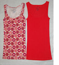 Womens Tank Tops TWO LOT Red RETRO ORANGE XS 0-2 S 4-6 L 12-14