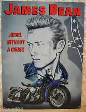 """James Dean Motorcycle """"Rebel Without A Cause"""" Enamel Heavy Tin Metal Wall Sign"""