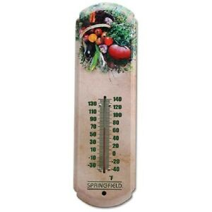 "NEW SPRINGFIELD 98212 17"" METAL GARDEN VEGETABLE INDOOR OUTDOOR THERMOMETER SALE"