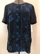 NWT Equipment Femme Riley Silk Tee Size S Short Sleeve Blue $188