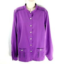 Travelsmith XL Microfiber Pintuck Tunic Blouse Purple Long Sleeve Button Down