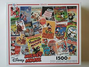 Disney Mickey Mouse Puzzle Vintage Covers Collage 1500 Pieces Ceaco  New Sealed