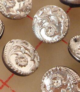 """12 Vintage Small Glass Shank Buttons Silver Flower Design Czech 1/2"""" 13mm #75"""