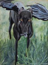 Original Oil Painting of a Greyhound Dog Portrait Contemporary Art