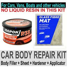 CAR BOAT BODY REPAIR KIT - FILLER AND FIBRE GLASS MAT SHEET - NO LIQUID RESIN