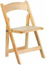 HERCULES Series Natural Wood Folding Chair with Vinyl Padded Seat New