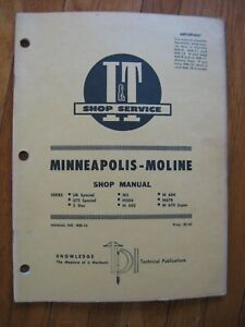 Minneapolis Moline UB UTS special 5 Star M 504 602 604 670 Tractor I&T Manual