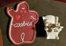 """Dept 56 """"Cookies For Santa"""" Snowbaby asleep in the chair and Gingerbread Tray"""