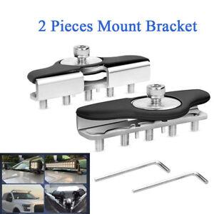 Universal Hood Mounting Brackets LED Work Light Bar Clamp Holder For Jeep Truck
