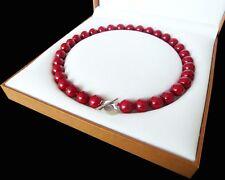 schön AAA 12mm runde rote farbe Schale Perle Halskette 18 zoll