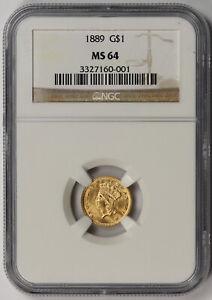 1889 Indian Princess Large Head Gold Dollar $1 MS 64 NGC
