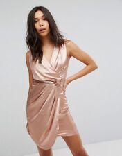 Lipsy Women's Rose Gold Wrap Dress Size 10
