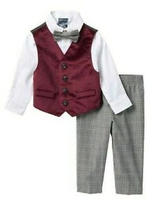 Boys Vest Suits Toddlers Pinstripe Red Shirt Set Size 5