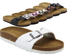WOMENS MOJO FOOTBED SUEDE FLAT SLIP ON MULE SLIDERS SANDALS SHOES SIZES 3-9 NEW