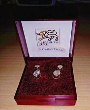 9 ct GOLD CAGED DIAMONIQUE DANGLE EARRINGS (Pierced Ears)
