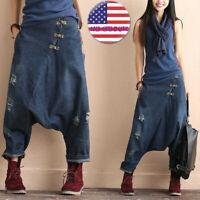 Women's fashion Casual harem jeans Denim Casual Pants Cotton  Trousers