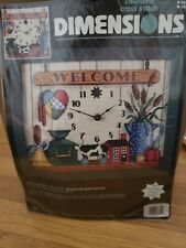 """Dimensions Counted Cross Stitch """"Welcome Clock"""" 3851 Includes clock parts"""