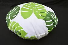 LF814n White Light Green leaf Cotton Canvas Round Pillow Case/Cushion Cover