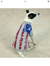 Zack & Zoey America's Pup Flag-Print Tee Shirt for Dog Sz. L Brand New