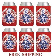 PABST BLUE RIBBON 6 PBR 12oz BEER CAN WRAP COOLERS KOOZIE COOLIE HUGGIE NEW