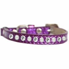 Mirage Pet Products Pearl and Clear Jewel Ice Cream Cat safety collar Purple .